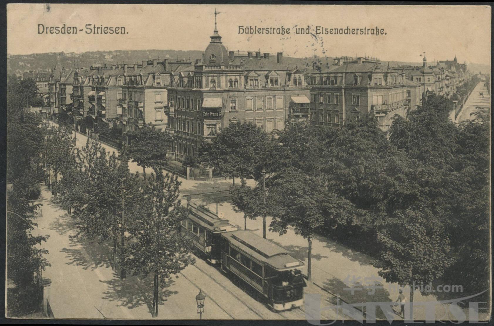 1911年黑白風景明信片貼德國郵票一枚 ,德國寄上海實寄片一件,銷德國
