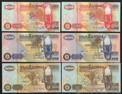 2001年赞比亚50元~500元各二枚,共六枚,分别